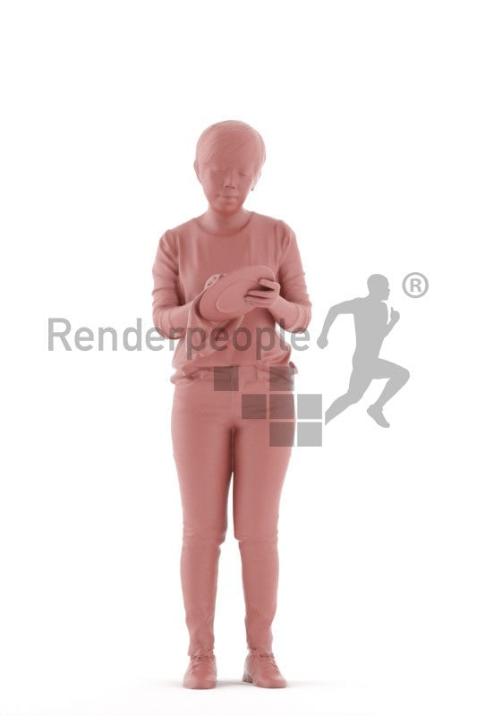 Scanned 3D People model for visualization – asian female in daily outfit, standing and drying dishes