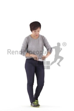 3D People model for 3ds Max and Blender – asian female, standing and chopping something