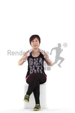 Posed 3D People model for renderings – asian woman in sports outfit, with towel, sitting