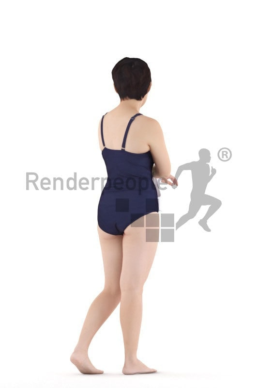 3D People model for 3ds Max and Sketch Up – asian femake in swimmsuit, walking and using a towel