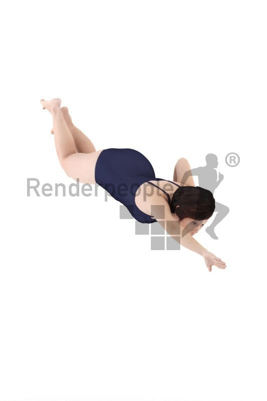 3D People model for 3ds Max and Sketch Up – asian woman in swimmsuit, swimming