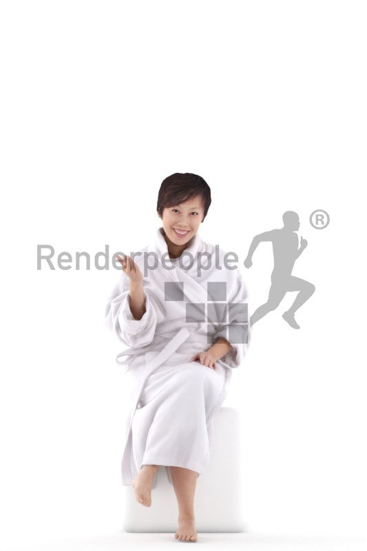 3D People model for 3ds Max and Cinema 4D – asian woman in bathrobe, spa, swimmwear, sitting and communicating