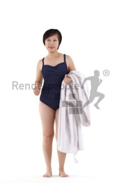 Posed 3D People model for visualization – asian woman in swimmsuit, with a bathrobe
