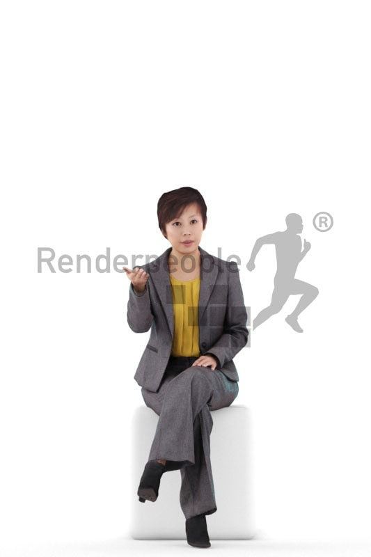 Posed 3D People model for renderings – asian woman in business clothing, sitting and communicating