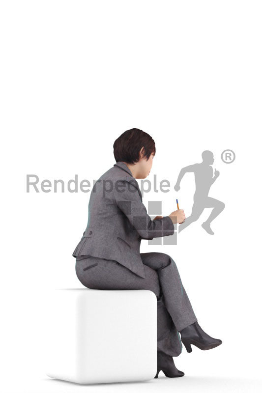 Posed 3D People model by Renderpeople – asian woman in business clothes, sitting and writing
