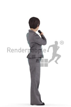3D People model for 3ds Max and Sketch Up – asian woman in office look, standing and moderating/presenting