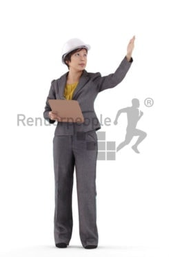 Realistic 3D People model by Renderpeople – asian woman in business dress and hemelt, as a site manager