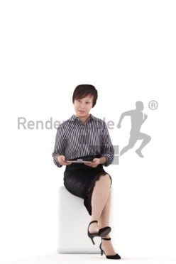 3D People model for 3ds Max and Cinema 4D – asian woman in business look, sitting and reading something on the clipboard