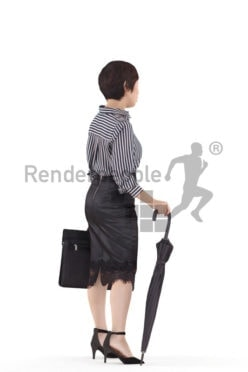 3D People model for 3ds Max and Cinema 4D – asian woman in business look, standing with office bag and umbrella