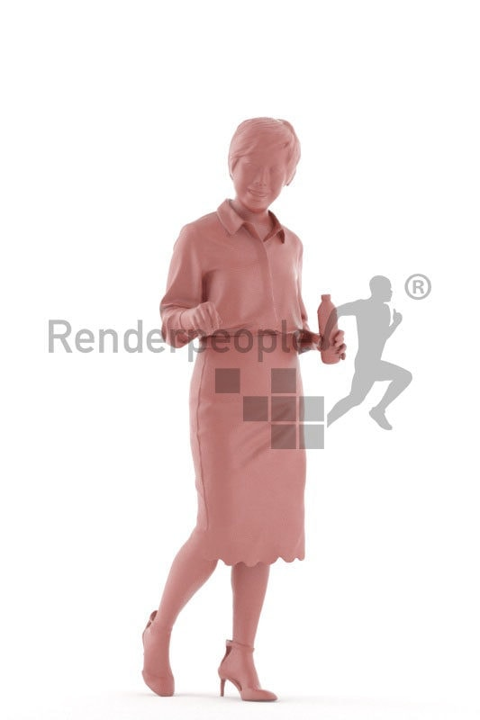 Scanned 3D People model for visualization – asian woman in office dress, walking with a bottle, communicating