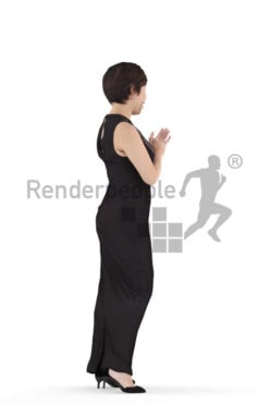 3D People model for 3ds Max and Blender – asian woman in event dress, standing and applauding