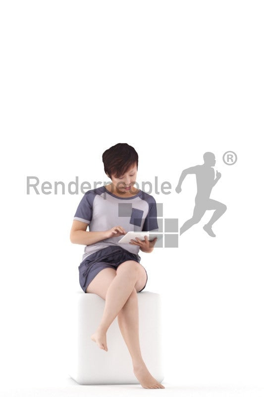 Posed 3D People model for visualization – asian woman in sleepwear, using a tablet