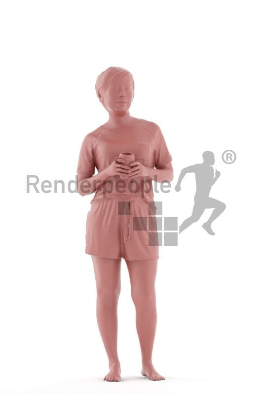 Posed 3D People model by Renderpeople – asian woman in shorty pyjama, holding a mug of coffee