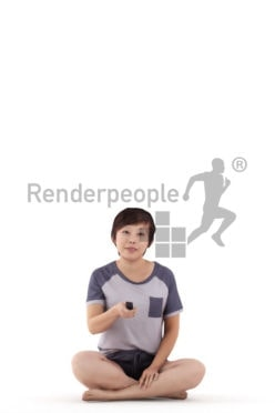 3D People model for 3ds Max and Sketch Up – asian woman sitting in sleepwear and using the remote controller