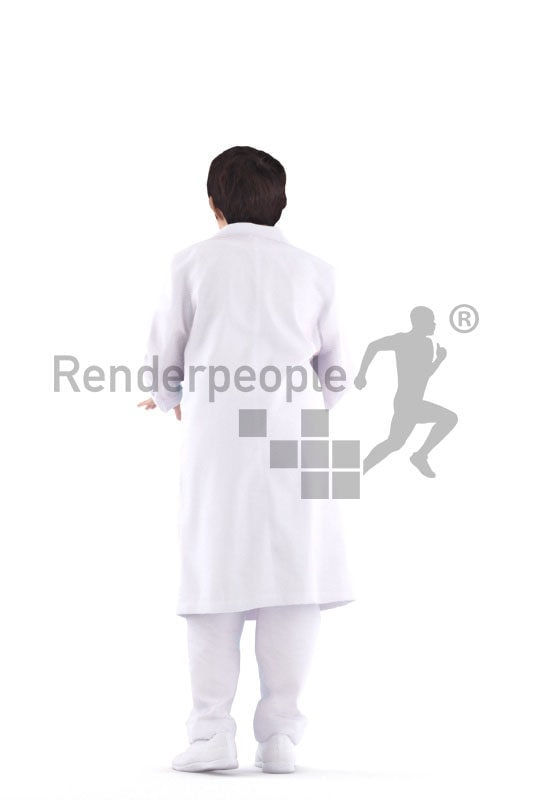Posed 3D People model for visualization – asian woman in doctors dress, operating