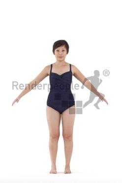Rigged 3D People model by Renderpeople, asian woman, swimmwear