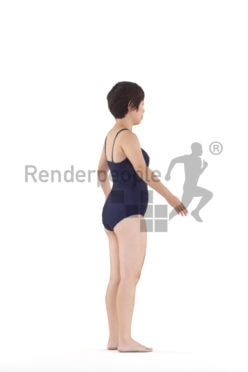 Rigged 3D People model by Renderpeople, asian woman, swimmwear