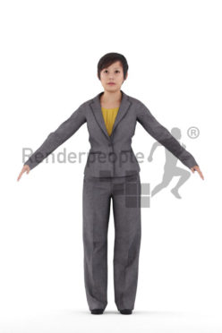 Rigged and retopologized 3D People model – asian woman in business clothes