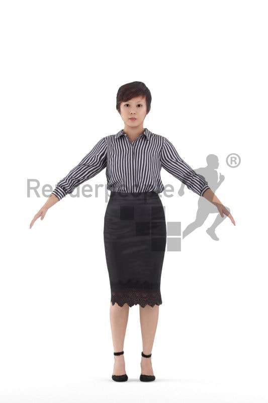 Rigged 3D People model for Maya and Cinema 4D, asian woman, event