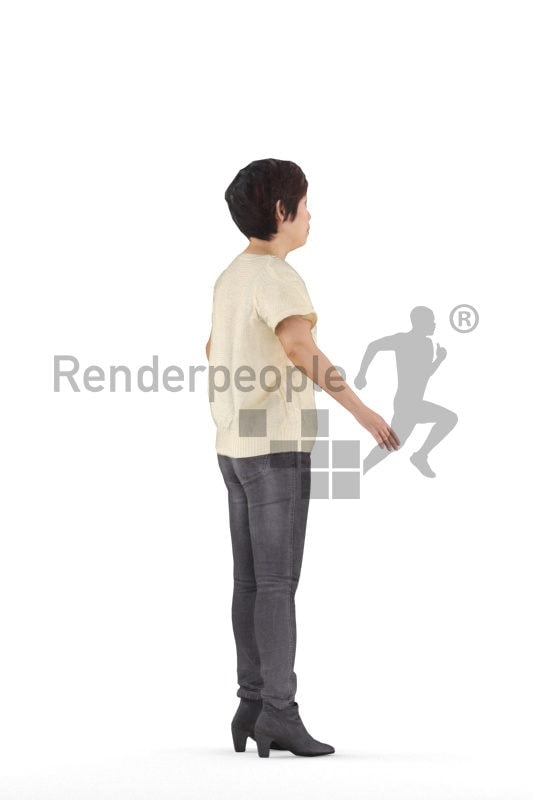 Rigged 3D People model for Maya and Cinema 4D, casual, asian woman