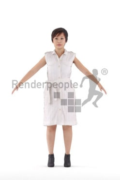 Rigged human 3D model by Renderpeople – asian woman in smart casual dress