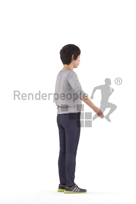 Rigged and retopologized 3D People model, asian woman, casual,