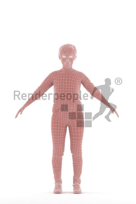 Rigged and retopologized 3D People model, asian woman,