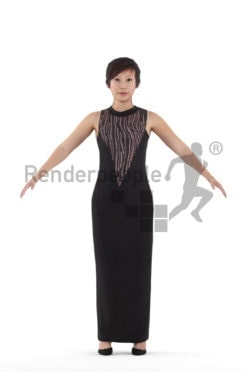 Rigged and retopologized 3D People model – asian woman in event dress