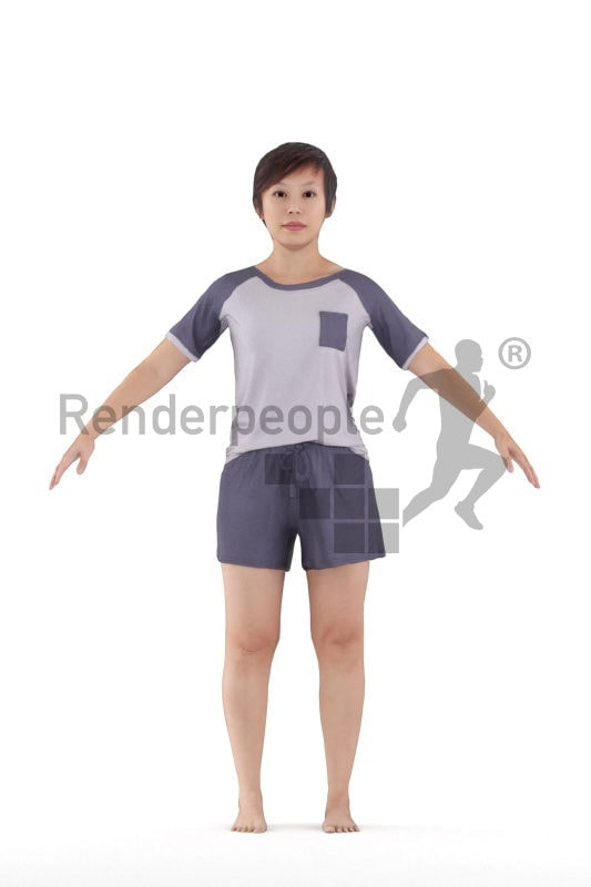 Rigged and retopologized 3D People model – Asian woman in sleepwear