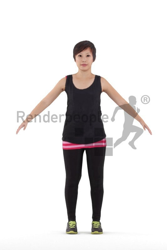 Rigged human 3D model by Renderpeople – asian woman in sports clothing