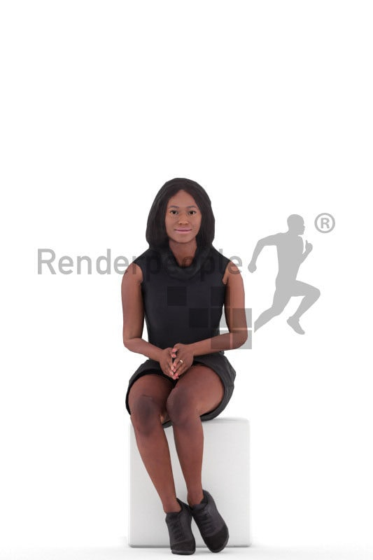 Animated 3D People model for realtime, VR and AR – black woman in a black dress, sitting