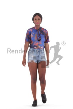 Animated 3D People model for Unreal Engine and Unity – black female in casual summer look, walking