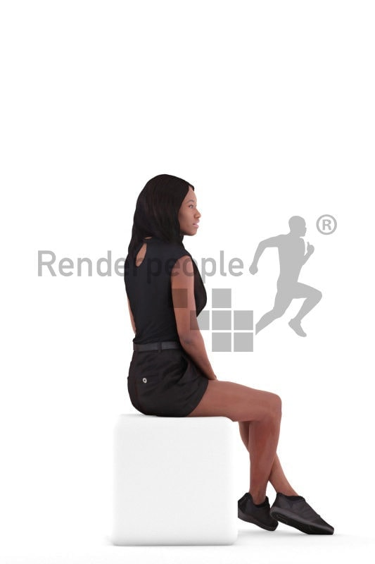 Scanned 3D People model for visualization – black woman in casual summer look, sitting and waiting