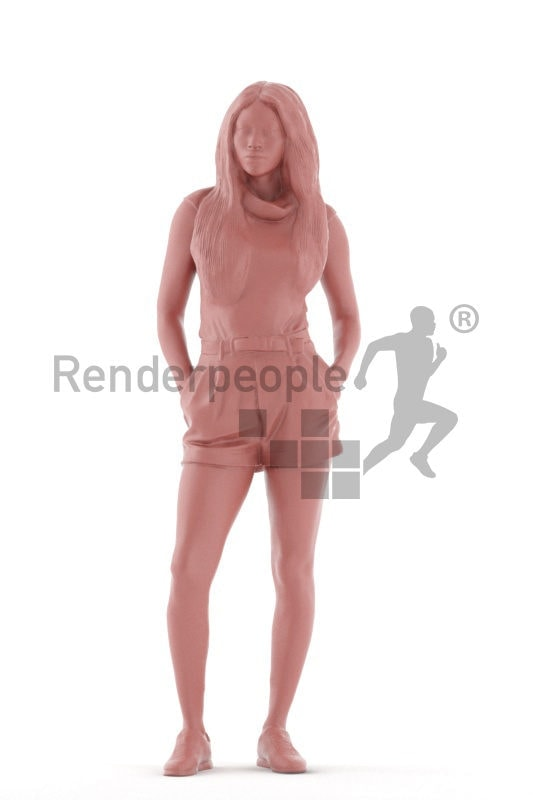 Scanned 3D People model for visualization – black woman in casual summer look, standing and waiting