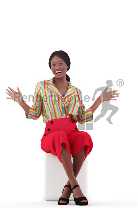 Posed 3D People model for visualization – black female in casual freetime outfit, sitting, amazed