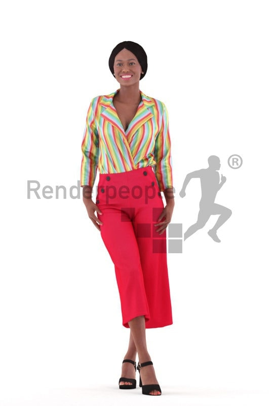 3D People model for 3ds Max and Cinema 4D – black woman in smart casual outfit, standing and talking
