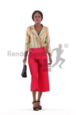 Posed 3D People model by Renderpeople – black woman walking in office look