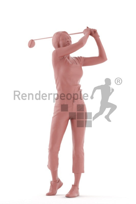 3D People model for 3ds Max and Cinema 4D – black woman playing golf