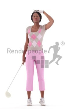 Photorealistic 3D People model by Renderpeople – black woman in sporty golf outfit, standing and watching the ball