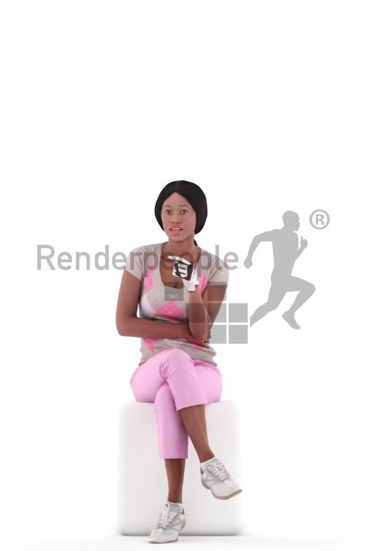 Photorealistic 3D People model by Renderpeople – black woman in sporty golf outfit