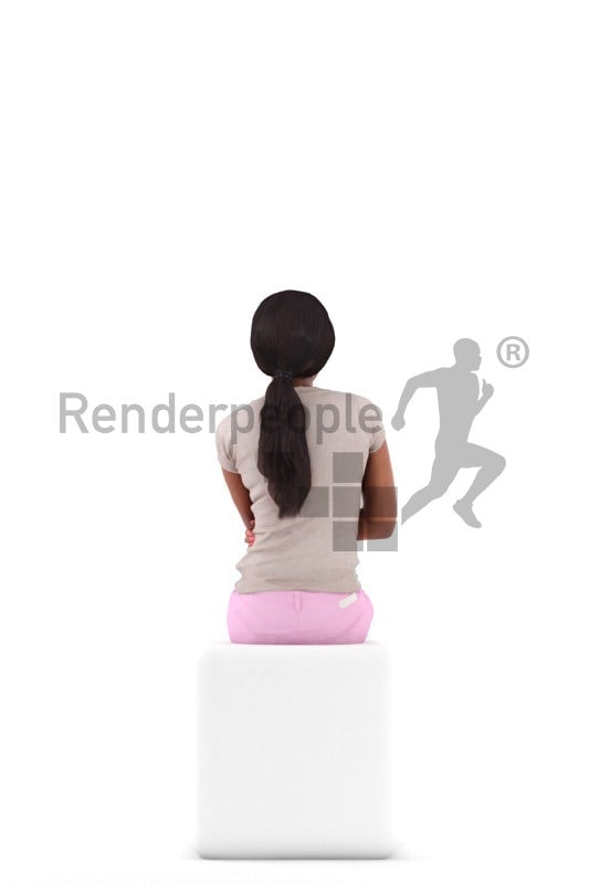 Photorealistic 3D People model by Renderpeople – black woman in gymwear, sitting and talking