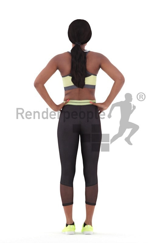 Photorealistic 3D People model by Renderpeople – black woman in gymwear, standing and waiting