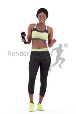 Photorealistic 3D People model by Renderpeople – black woman in gymwear, standing and holding a bottle, communicating