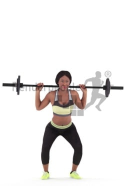 Photorealistic 3D People model by Renderpeople – black woman in gymwear, lifting weights