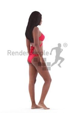 Posed 3D People model for renderings – black woman in red bikini