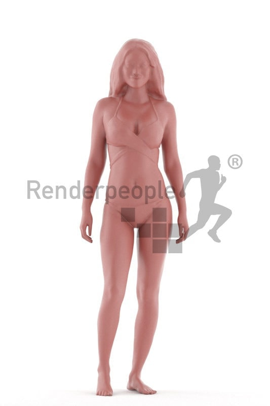 Posed 3D People model for renderings – black woman in red bikini
