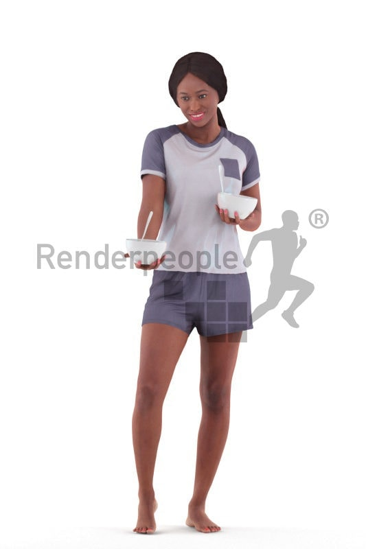 Scanned human 3D model by Renderpeople – black female in shorty pyjama, holding two bowls and offering one