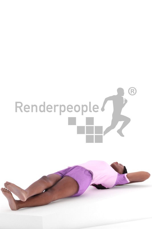 Posed 3D People model for visualization – black woman in summer sleepwear, laying in the bed