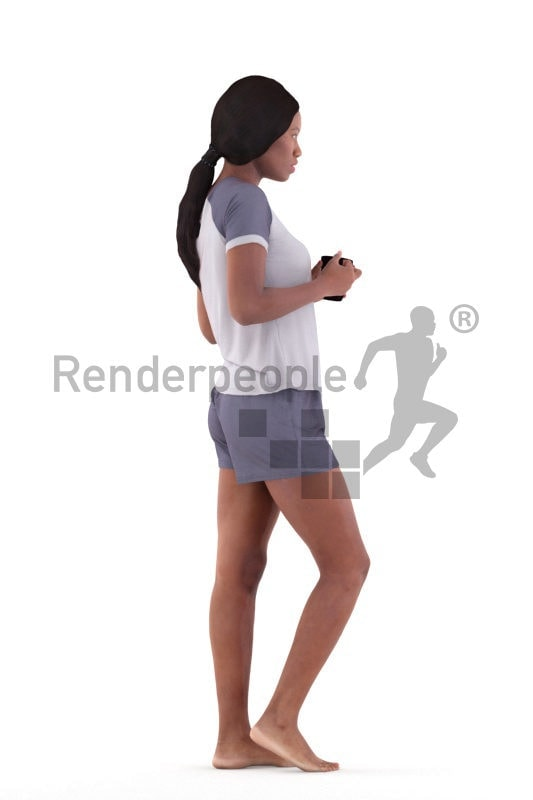 Posed 3D People model for visualization – black woman in summer sleepwear, standing with a mug