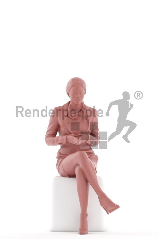 3D People model for 3ds Max and Cinema 4D – black woman in business look, communicating, sitting
